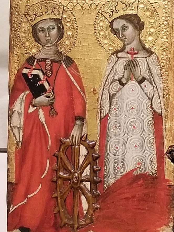 image of a portion of a triptych featuring two women and what looks like a wagon wheel.